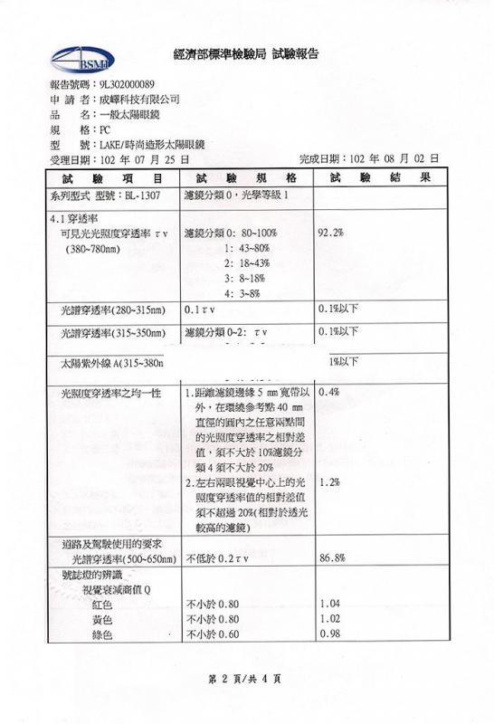 專利證書 經濟部標準局測試報告